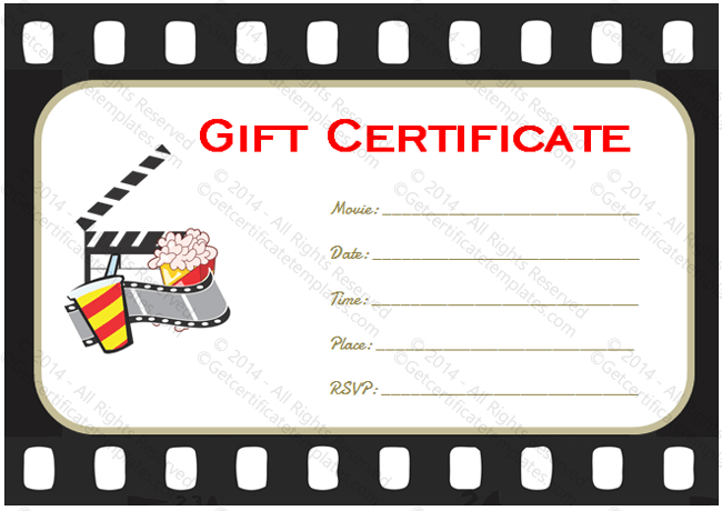 Holiday Gift Certificate Template (Movie Tickets, #5531) In with regard to Movie Gift Certificate Template