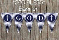 Holy Baptism Banner Printable Christening First Communion Navy Blue Chevron  088 pertaining to Christening Banner Template Free