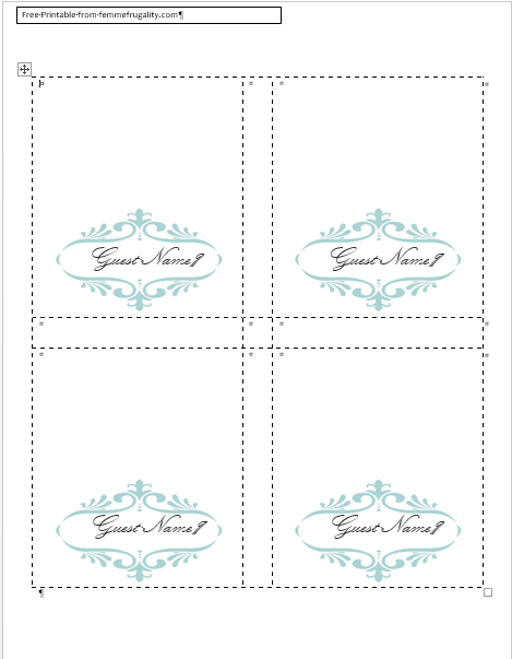 How To Make Your Own Place Cards For Free With Word And within Fold Over Place Card Template