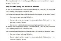 Hr Policy And Procedure Manual Template | Templates in Small Business Policy And Procedures Manual Template