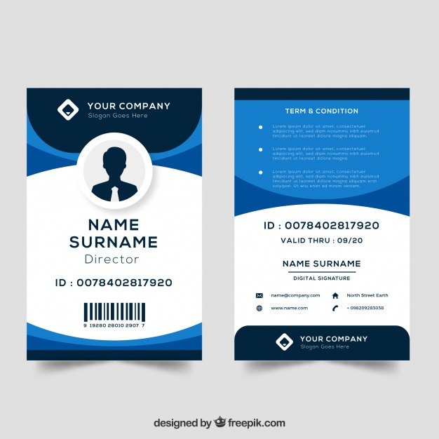 Id Card Template | Free Vector regarding Portrait Id Card Template