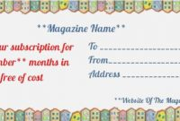 Magazine Subscription Gift Certificate Template (1 within Magazine Subscription Gift Certificate Template