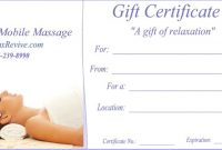 Massage Gift Certificate Templates | Gift Certificate Templates for Massage Gift Certificate Template Free Download