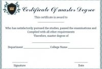 Master Degree Diploma Certificate Template | Degree pertaining to Masters Degree Certificate Template