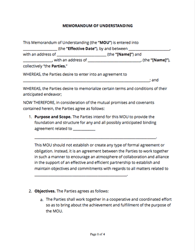 Memorandum Of Understanding (Free Sample) - Docsketch throughout Template For Memorandum Of Understanding In Business