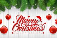 Merry Christmas Banner Template Christmas Tree And Balls in Merry Christmas Banner Template