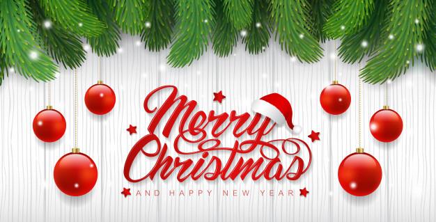 Merry Christmas Banner Template Christmas Tree And Balls in Merry Christmas Banner Template