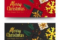 Merry Christmas Golden Text And Confetti Xmas Banner throughout Merry Christmas Banner Template