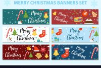 Merry Christmas Set Of Banners Template With pertaining to Merry Christmas Banner Template
