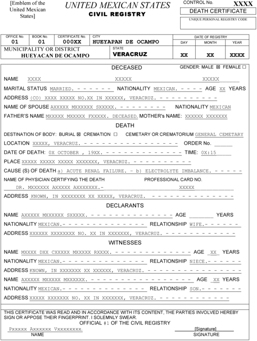 Mexican Marriage Certificate Translation Template (1 With Regard To Mexican Marriage Certificate Translation Template