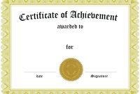 Mock Certificate Template | Certificate Of Completion throughout Mock Certificate Template