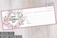 Mother's Day Gift Certificate, Printable Gift Coupon For Mom in Spa Day Gift Certificate Template
