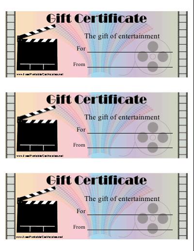 Movie Gift Certificate Printable Certificate with regard to Movie Gift Certificate Template