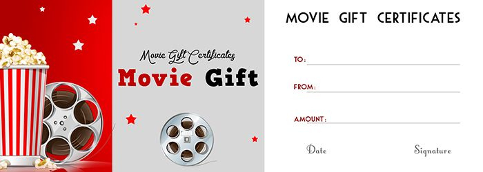 Movie Gift Certificates Template - Free Gift Certificate intended for Movie Gift Certificate Template