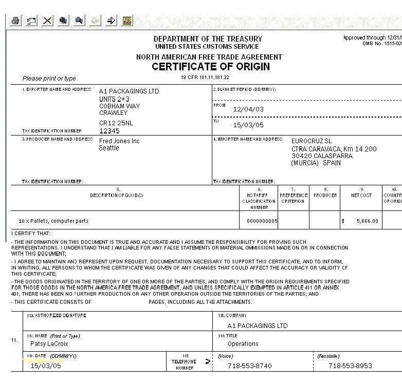 Nafta Certificate Template (3 | Certificate Templates with Nafta Certificate Template