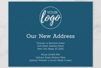 New Address Change With Business Logo Navy Announcement with regard to Business Change Of Address Template