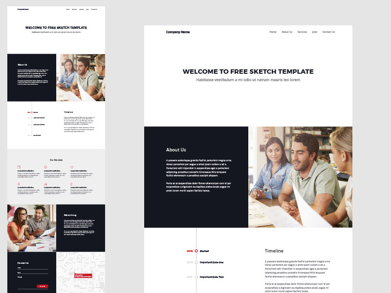 One Page Website Template Sketch Freebie - Download Free pertaining to Website Templates For Small Business