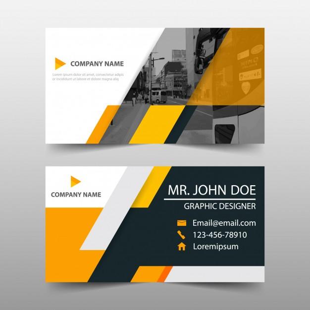 Orange Business Card Template Design | Free Vector with Transport Business Cards Templates Free
