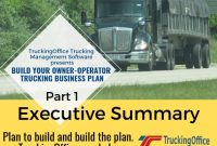 Owner Operator Business Plans 1: Executive Summary pertaining to Business Plan Template For Transport Company