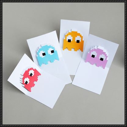 Pac-Man Ghosts Pop-Up Card Free Papercraft Templates Download regarding Templates For Pop Up Cards Free