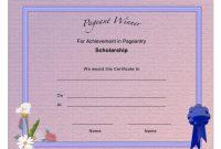 Pageant Scholarship Achievement Certificate Template with Pageant Certificate Template