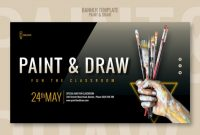 Paint And Draw Classroom Banner | Free Psd File inside Classroom Banner Template