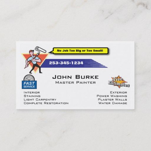 Painter Painting Contractor Business Card   Zazzle In Plastering Business Cards Templates