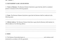 Partnership Agreement Sample | Free Business Partnership with Template For Business Partnership Agreement