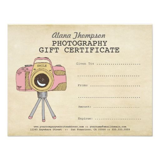 Photographer Photography Gift Certificate Template | Zazzle intended for Photoshoot Gift Certificate Template
