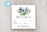 Photography Gift Certificate Template, Client Gift Card, Gift Voucher  Template, Gift Certificate Printable, Gift Card Download For Customers pertaining to Photoshoot Gift Certificate Template