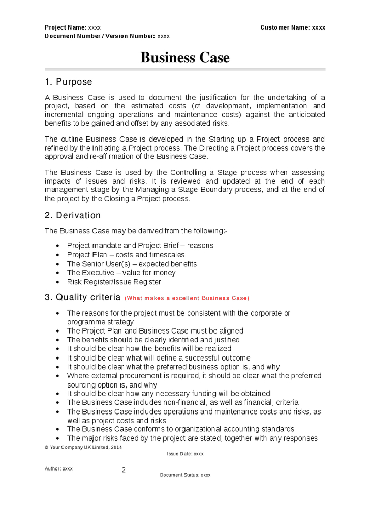 Prince2 Business Case Template | Business Case Template with regard to Prince2 Business Case Template Word