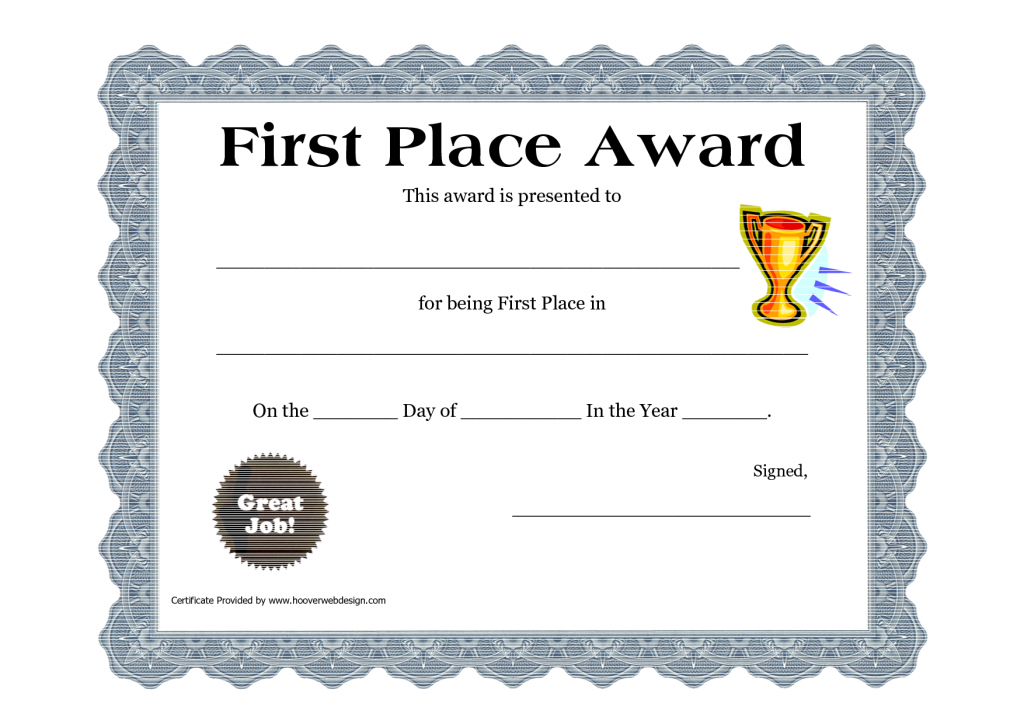Printable-Certificate-Pdfs-First-Place-Award | Awards with First Place Certificate Template