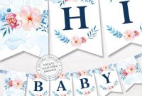 Printable Floral Banner Template, Couples Baby Shower with Baby Shower Banner Template