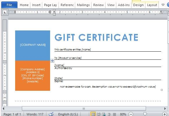 Printable Gift Certificates Template For Word With Regard To Microsoft Gift Certificate Template Free Word