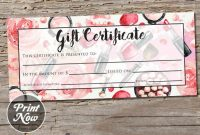 Printable Makeup Gift Certificate Template, Mary Kay, Avon, Voucher Card,  Arbonne, Salon Stylist, Mothers Day, Instant Digital Download with regard to Mary Kay Gift Certificate Template