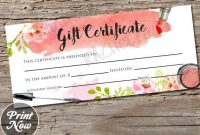 Printable Makeup Gift Certificate Template, Mary Kay Voucher, Avon Gift  Card, Arbonne, Younique, Salon Stylist, Instant Digital Download within Mary Kay Gift Certificate Template
