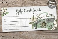Printable Photography Gift Certificate Template, Spring regarding Photoshoot Gift Certificate Template