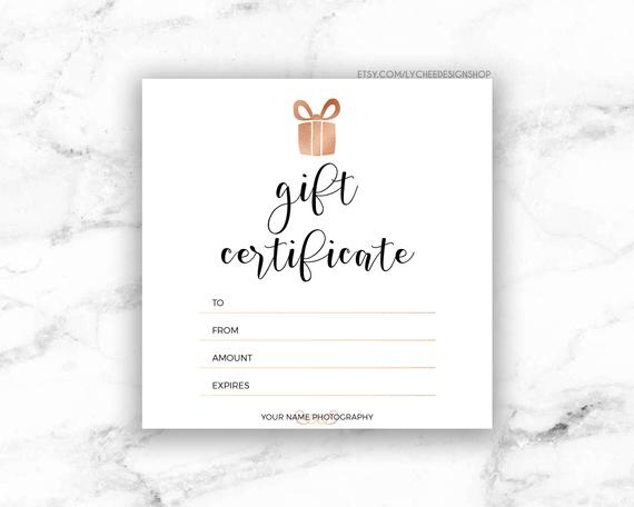 Printable Rose Gold Gift Certificate Template | Editable Photography Studio  Gift Card Design | Photoshop Template Psd | Instant Download intended for Gift Certificate Template Photoshop