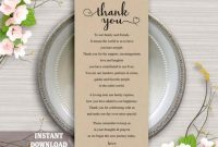 Printable Thank You Place Card, Wedding Thank You Card pertaining to Template For Wedding Thank You Cards