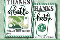 Printable Thanks A Latte Thank You Card // Starbucks Gift intended for Thanks A Latte Card Template