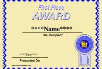 Printable Winner Certificate Templates Winner Certificate for First Place Certificate Template