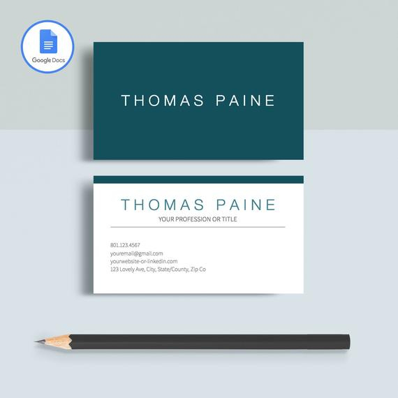 Professional Business Card Template, Printable Business Card Template,  Matching Google Docs Resume Template, Modern Business Card Design Inside Google Docs Business Card Template