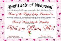 Proposal Certificate Designer | Free Certificate Templates regarding Love Certificate Templates