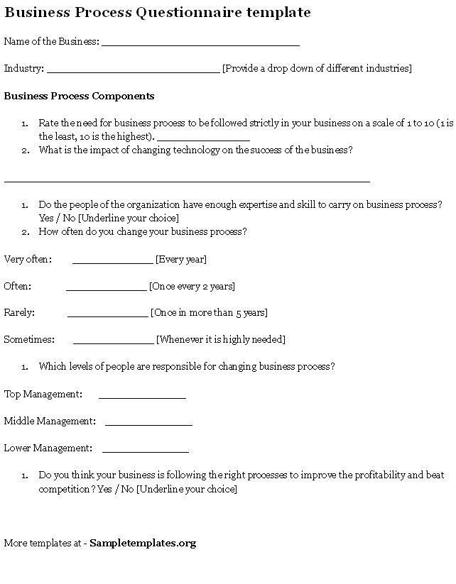 Questionnaire Template For Business Process, Sample Of intended for Business Process Questionnaire Template