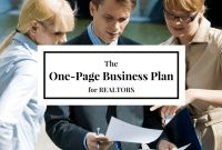 Real Estate Coaching – The One Page Real Estate Business Plan pertaining to Real Estate Agent Business Plan Template