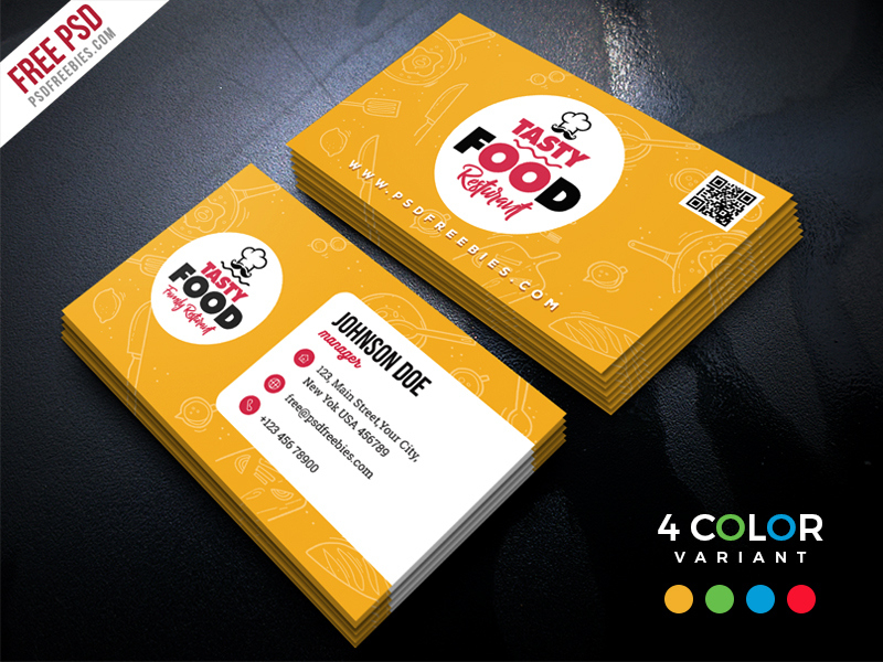 Restaurant Business Card Free Psd Bundle | Psdfreebies intended for Food Business Cards Templates Free