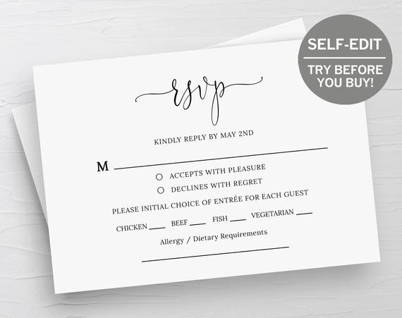 Rsvp Card Template, Wedding Rsvp Cards, Response Cards, Rsvp Template,  Instant Download, Wedding Printable, Templett, Editable, Minimalist for Template For Rsvp Cards For Wedding