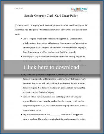 Sample Company Credit Card Use Policy | Lovetoknow with regard to Company Credit Card Policy Template