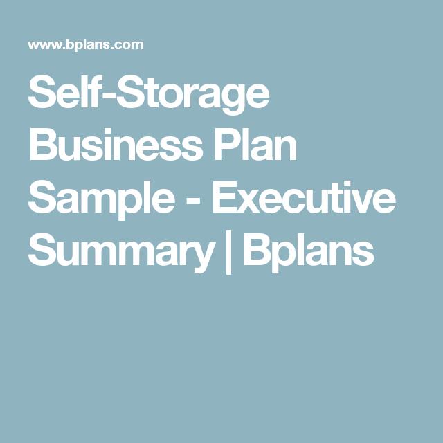 Self-Storage Business Plan Sample - Executive Summary intended for Self Storage Business Plan Template