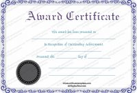 Silver Award Certificate Template – For Word for First Place Certificate Template